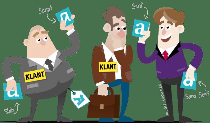 cartoon van drie mannen die kaartjes met verschillende lettertypes vasthouden