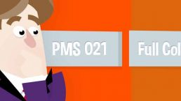 cartoon van een man die verbaasd kijkt naar het verschil van een oranje plaat in PMS 021 en een oranje plaat in full colour