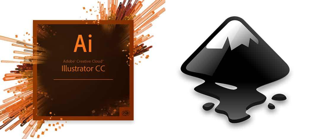 logo van adobe illustrator en logo inkscape