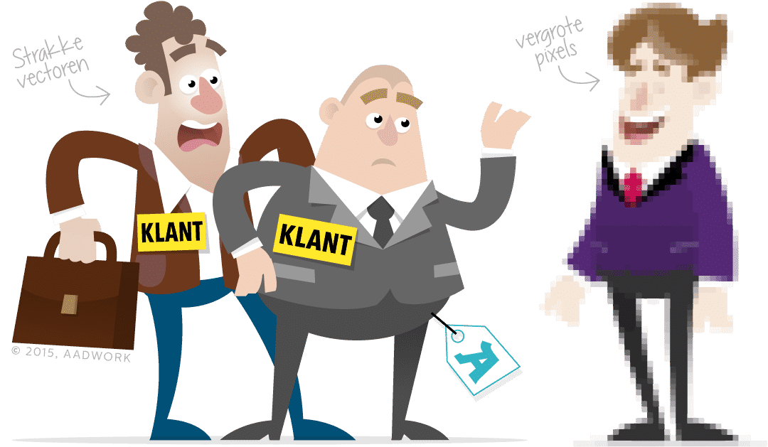 cartoon van twee mannen die schrikken van een derde personage dat gepixelt is afgebeeld