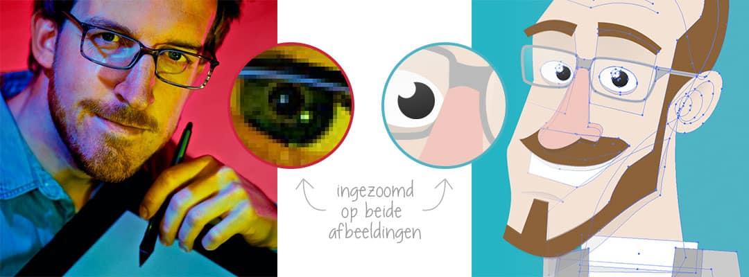 verschil weergegeven tussen een pixelafbeelding en een vector-afbeelding