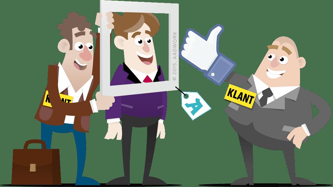 cartoon van drie mennen die een passe partout omhoog houden voor een profielfoto op social media