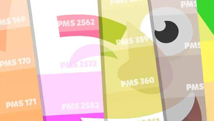 pantone kleuren met cartoon illustratie erop