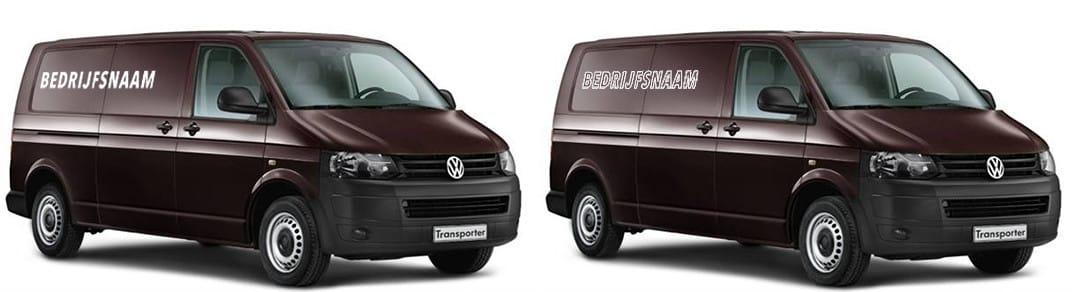 logo op twee bedrijfswagens links logo in wit rechts logo met witte lijnen