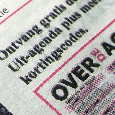 ontwerp advertentie close up in full color