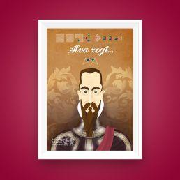 poster ontwerp en illustratie van hertog alva iov belasting en douane museum rotterdam