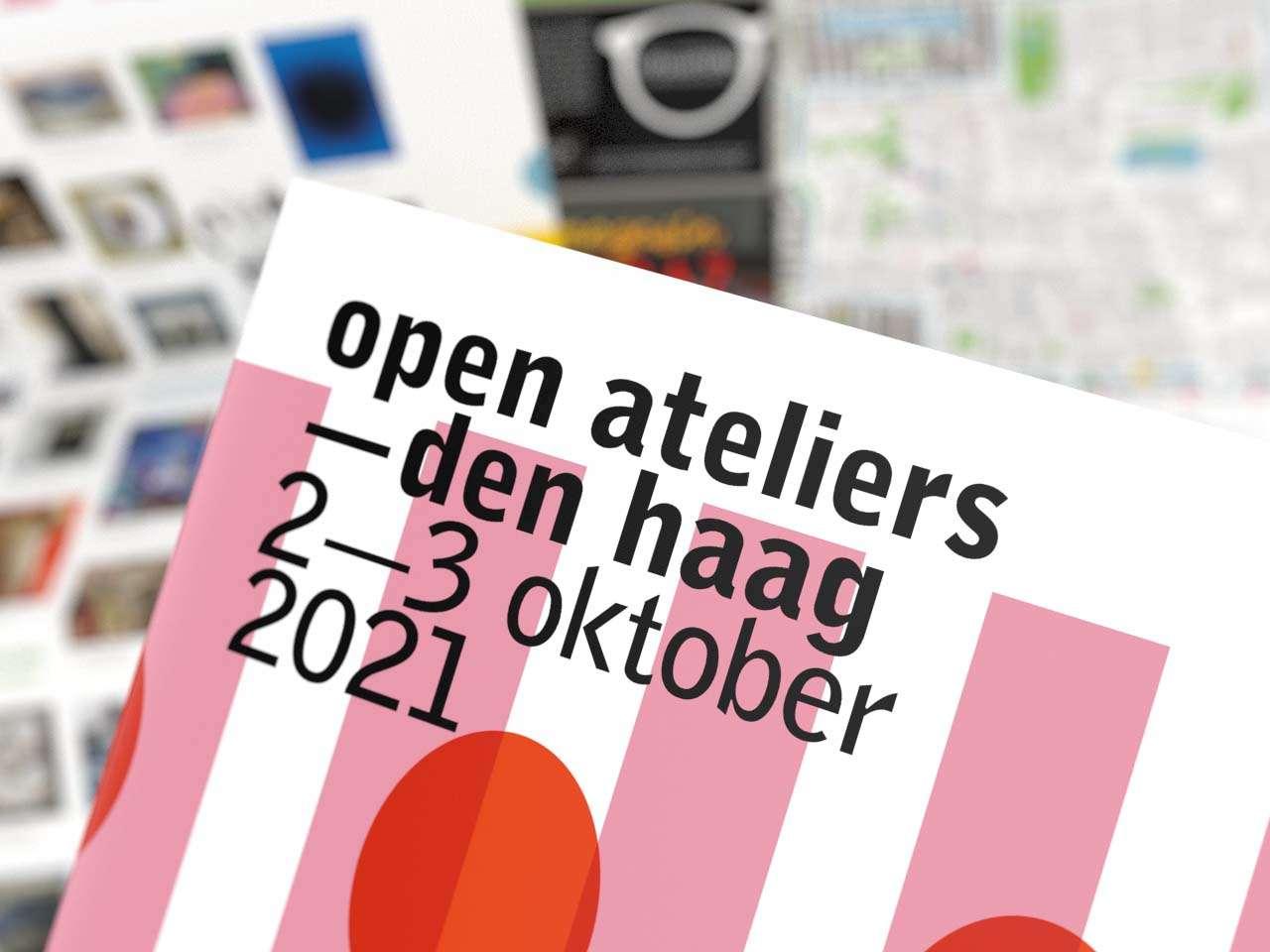 Folder laten maken zoals dit ontwerp van het infoblad met afbeeldingen van kunstwerken van Open Ateliers Den Haag door Aadwork uit BINK36