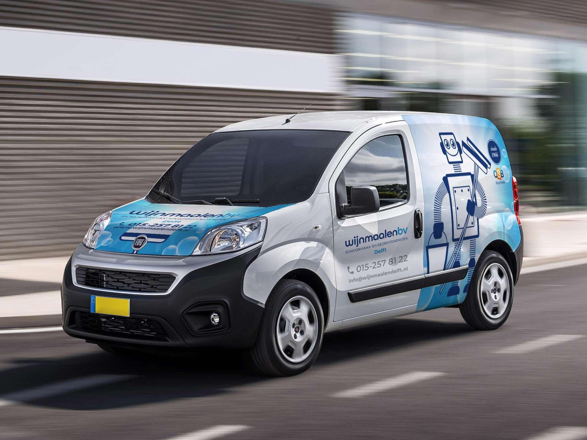 ontwerp auto reclame belettering voor schoonmaakbedrijf wijnmaalen delft door Aadwork uit BINK36 Den Haag